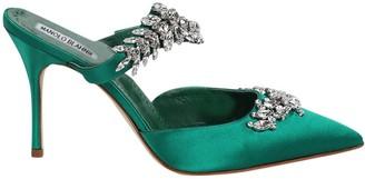 Manolo Blahnik Satin Lurum Sandal Green