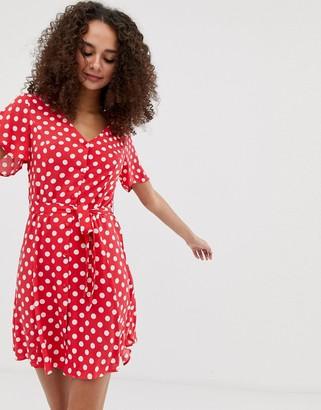 Brave Soul minnie button through tea dress in spot-Red