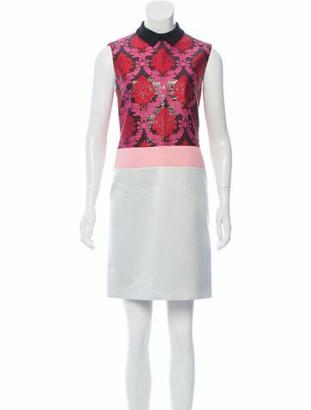 Mary Katrantzou Brocade-Accented Mini Dress w/ Tags Grey