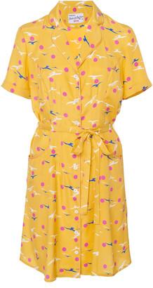 HVN Exclusive Maria Floral-Print Silk Mini Shirt Dress
