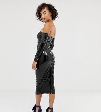 Asos DESIGN x LaQuan Smith off shoulder midi dress in vinyl