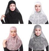 GladThink 4 X Womens Muslim Lace 2 Pieces Hijab Scarf Set No.1