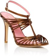 Paule Ka Bronze Strappy Open toed Sandal Pumps