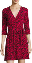 Leota 3/4-Sleeve Brush-Print Perfect Wrap Dress, Wine