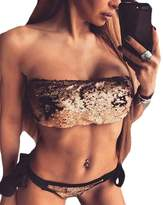 Milis Sequins Bikini Swimwear Women Halter Swimsuit Sexy Bandage Bathing Suit Bling Bikini Beachwear (xl, )