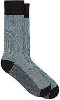 Barneys New York MEN'S FINE-STRIPED MID-CALF SOCKS-BLUE