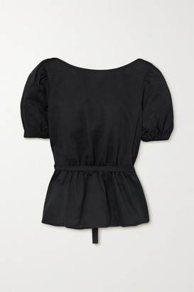 STAUD Marie Open-back Cotton-blend Faille Peplum Top - Black