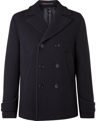 Officine Generale Double-Breasted Padded Virgin Wool-Blend Peacoat