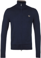Fred Perry Dark Carbon Blue Classic Merino Zip Through Cardigan