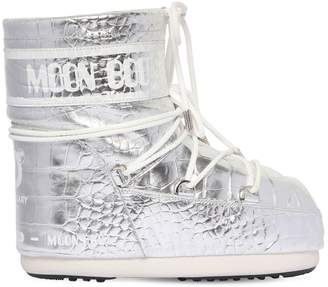 Moon Boot 50MM CROC EMBOSSED LEATHER SNOW BOOTS