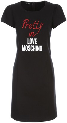 Love Moschino Logo Printed Embellished T-Shirt Dress