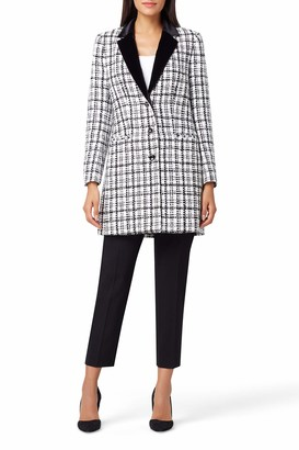 Tahari ASL Women's Velvet Lapel Boucle Topper Jacket