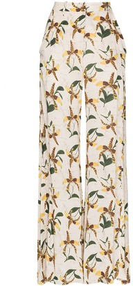 Adriana Degreas Orchid Print Flared Trousers