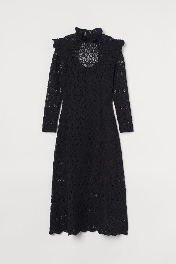 H&M Crocheted Long Dress - Black