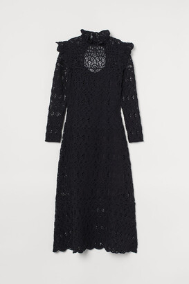 H&M Crocheted Long Dress - Black