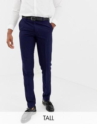 Harry Brown Tall mid-blue chalk pinstripe slim fit trousers