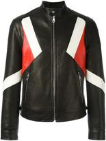 Neil Barrett geometric panelled leather jacket - men - Polyester/Polyurethane/Viscose/Lamb Nubuck Leather - L