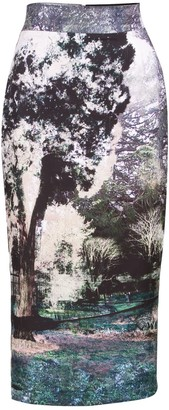 Louise Black Trip To Paris Printed Midi Skirt