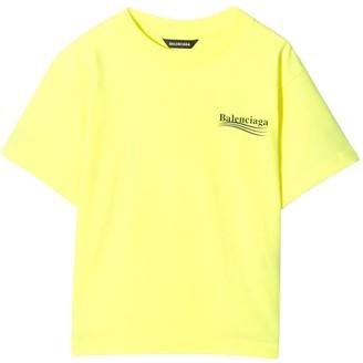 Balenciaga Kids Fluorescent Yellow Logo T-shirt