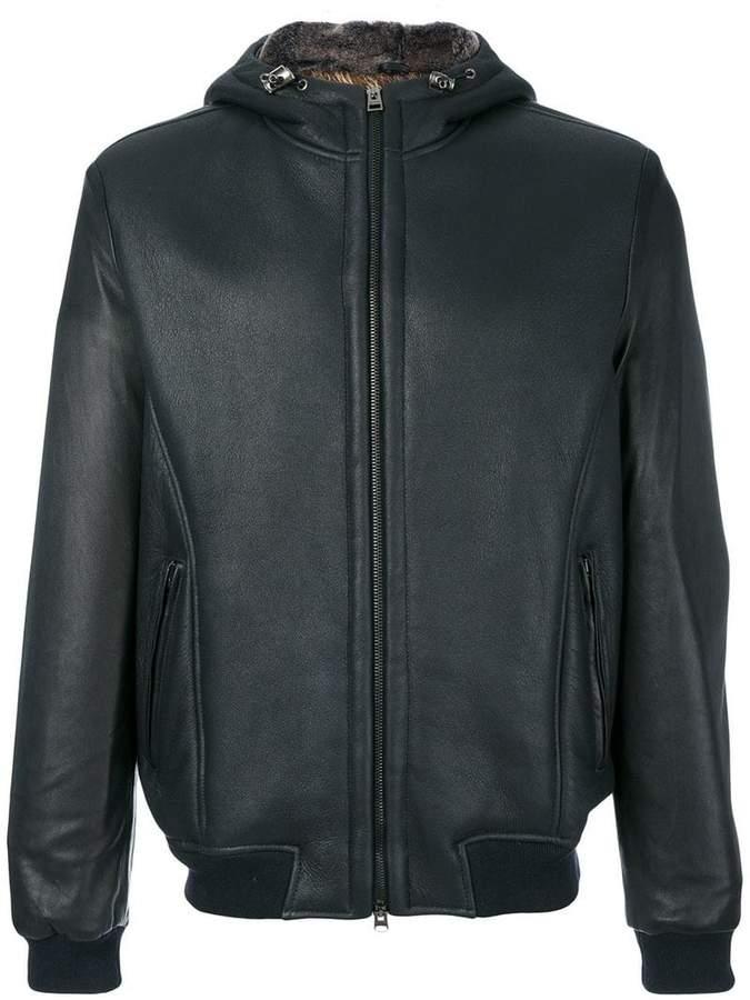 Etro hooded leather jacket