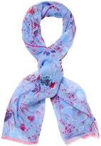 "Blumarine Floral Silk Long Scarf, 70"" x 27"""