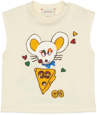 Gucci Baby mouse print cotton tank top