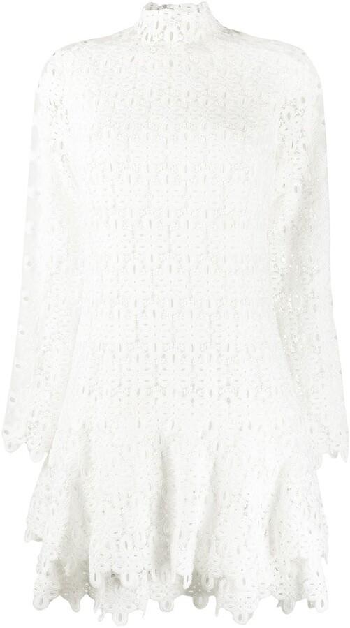 Jonathan Simkhai Geometric-Lace Tiered Mini Dress