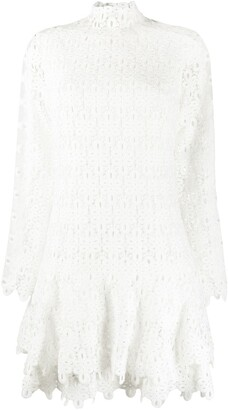 Jonathan Simkhai Geometric-Lace Tiered Mini Dress
