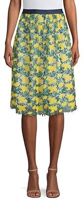 Draper James Embroidered Floral A-Line Skirt