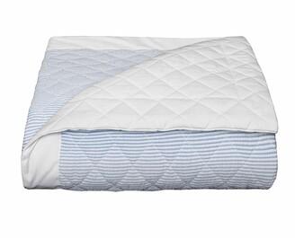 Bovi Fine Linens Baby Seersucker Crib Coverlet, White/Blue