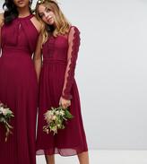 TFNC Petite Petite lace detail bridesmaid midi dress in burgundy