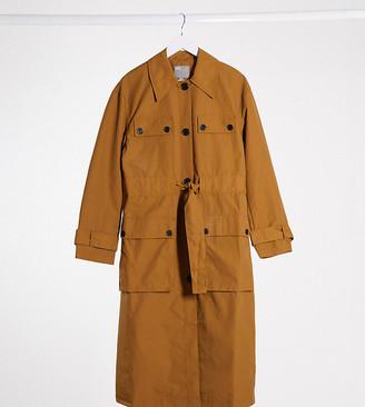 Asos Tall ASOS DESIGN Tall four pocket trench coat in ochre