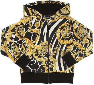 Versace Baroque Zip-up Cotton Sweatshirt Hoodie