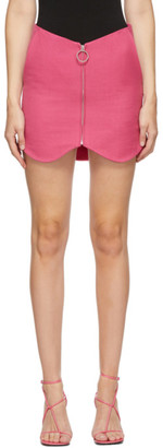 pushBUTTON SSENSE Exclusive Pink Wool Zippered Miniskirt