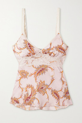 Paco Rabanne Lace-trimmed Paisley-print Satin Camisole - Blush