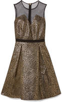 Draper James Kara Pleated Metallic Jacquard And Swiss-dot Tulle Dress - Black