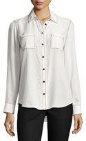 Kate Spade Contrast-Stitch Silk Shirt, French Cream