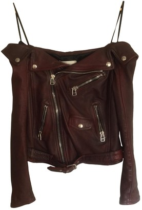 Faith Connexion Burgundy Leather Leather Jacket for Women