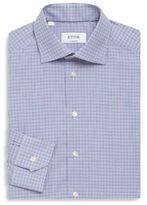 Eton Plaid Print Regular-Fit Cotton Dress Shirt