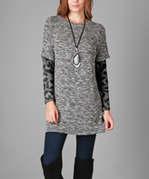 Aster Gray & Black Leopard-Sleeve Tunic - Plus Too