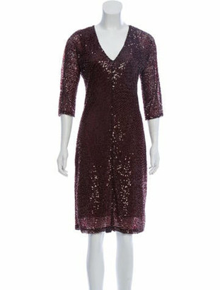 Naeem Khan Silk Embellished Dress Purple