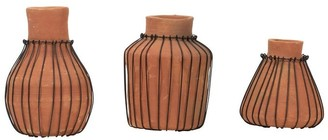 Foreside Home And Garden Foreside Home & Garden Set of 3 Natural Terracotta and Wire Decorative Bud Vases - 4.5x4.5x7