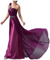 Avril Dress One-Shoulder Beading Sweep Charmeuse Mother Of Bride Evening Dress - US