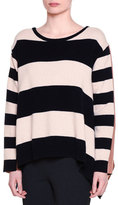 Stella McCartney Long-Sleeve Wide-Striped Combo Sweater, Ink/Powder