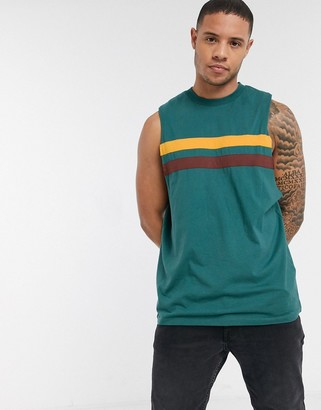ASOS DESIGN relaxed sleeveless t-shirt with dropped armhole and contrast panels in green