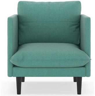 Coutee Armchair Corrigan Studio Upholstery: Blue Lagoon, Finish: Black