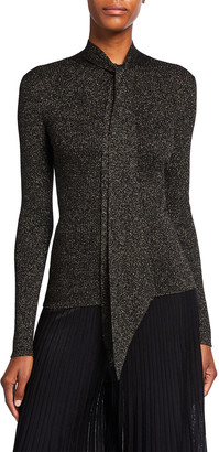 St. John Superfine Shimmer Rib Knit Sweater with Neck Tie