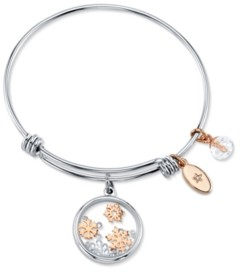 Unwritten Snowflake Design 8mm Clear Bead Shine Rose Gold Two Tone Bangle Bracelet