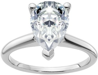 Moissanite 3.05cttw Pear-Shaped Ring, 14K