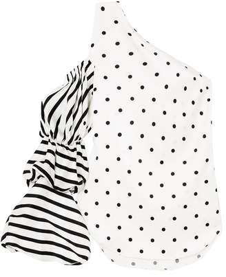 Silvia Tcherassi Poggio One-shoulder Printed Silk-blend Top